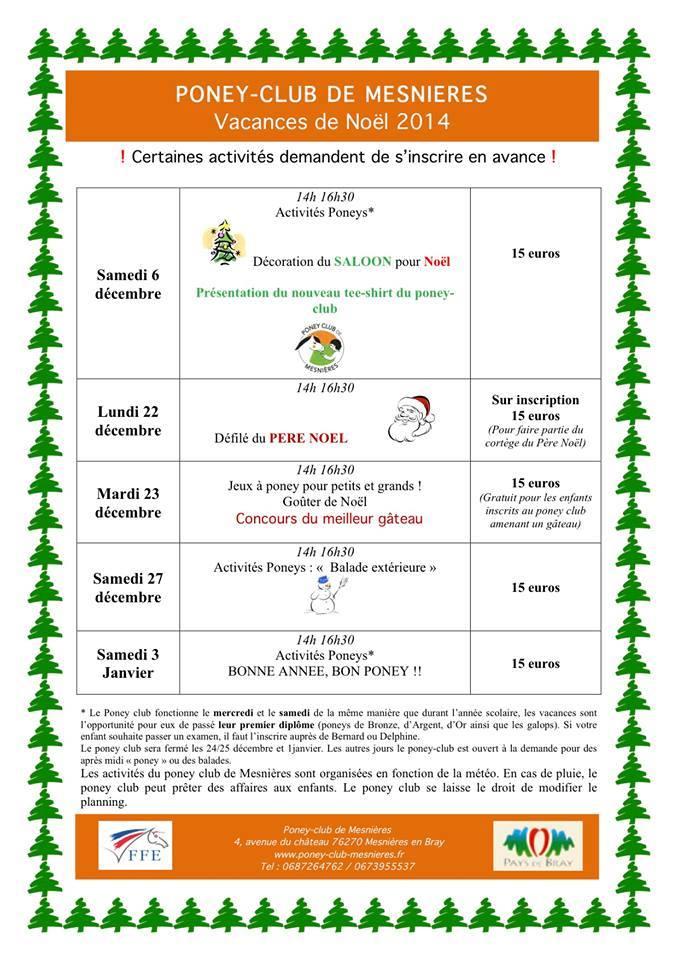 programme vacances noël 2014 braysports