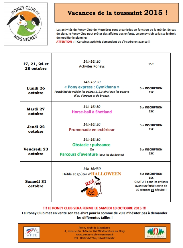 VACANCES PONEY CLUB MESNIERES OCT 2015