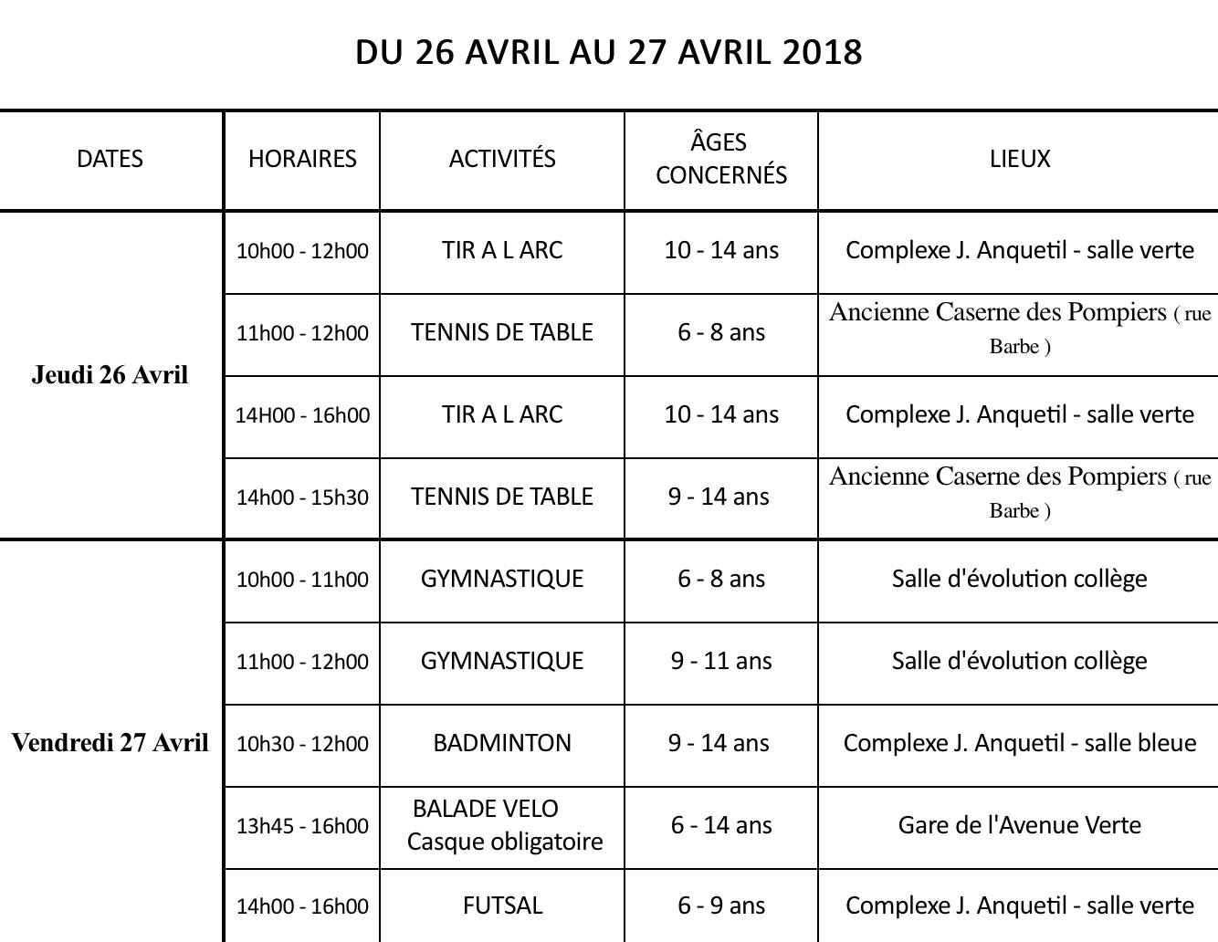 SPORTS VACANCES AVRIL 2018   BraySports da7a75a4464d